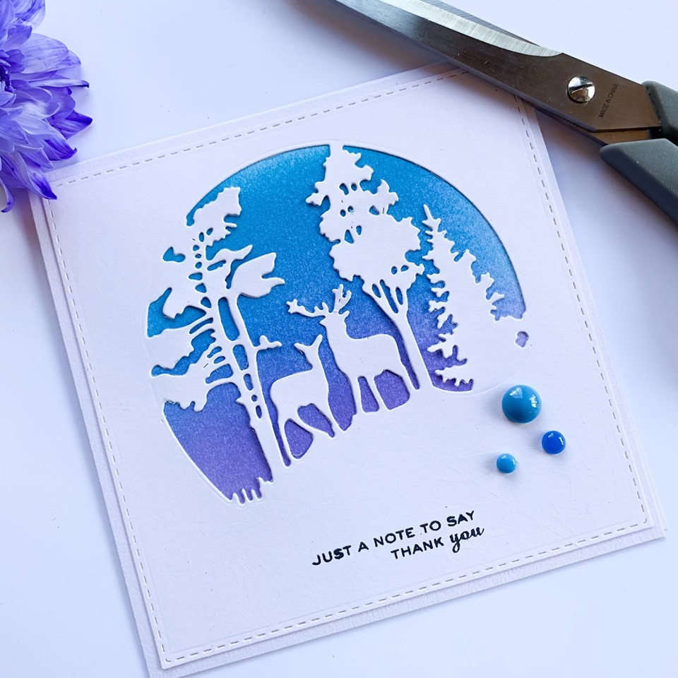 silhouette die cut card with blended background